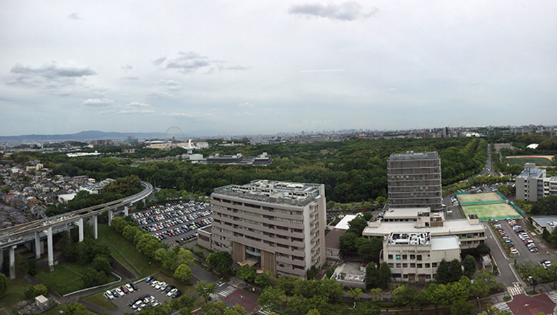 A panoramic view at the top floor of the hospital.