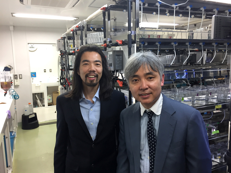 Fai and Dr. Motokazu in his zebrafish facility in the Center of Medical Innovation and Translational Research.