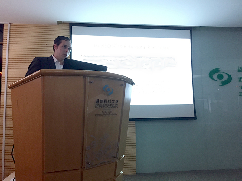 Logan presented his latest findings to the students at Wenzhou Medical University.